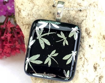 SALE Dichroic Glass Pendant Black & Silver Dragonfly - Studio Clearance