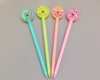 donut pens ++ super fine ball tip ++ set of 4 ++ adorable kawaii starionary set