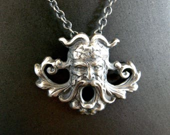 green man necklace, sterling silver green man pendant, handmade green man necklace, antique stamp necklace