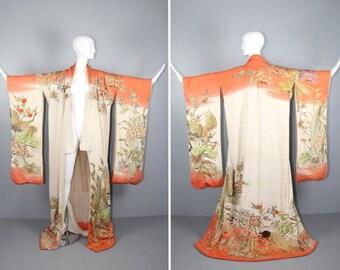 1930s embroidered kimono / cherry blossom / furisode / GILDED BIRD silk robe