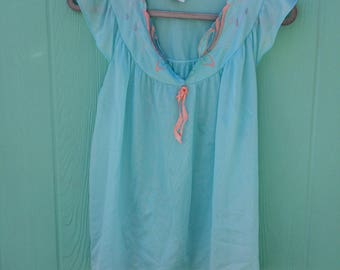 Vintage embroidered blue nylon pajama top