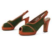 40s Peep Toe Slingback Shoes Vintage 1940s Green Suede High Heel Sandals Pin-Up Rockabilly Boho Rocker Heels Women's Size 9