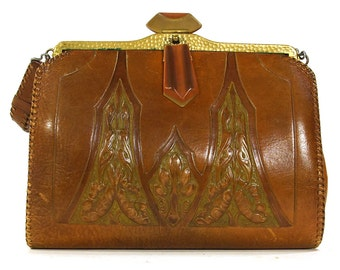 Antique Tooled Leather Purse / Art Deco Meeker Made Handbag / Embossed Art Nouveau Collectible Bag with Bakelite Twist Clasp / Arts & Crafts