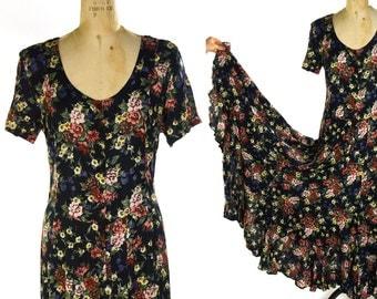 90s Grunge Rayon Maxi Dress Vintage Floral Boho Rocker Romantic Sundress Flamenco Circle Skirt Short Sleeve Nostalgia Bohemian Summer Dress