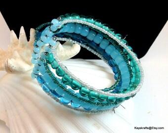 Blue Bead Cuff Bracelet, Vintage Bracelet, 7 Strand Bead Bracelet, Adjustable Bracelet, Gift For Her