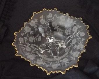 Cambridge Crystal Console Bowl Blossom Time aka Martha Vintage Etched Glass Gold Rim