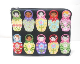 Nesting Dolls Change Purse and Pocket Mirror, Doll Coin Purse, Russian Doll Zip Pouch