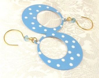 Blue Polka Dot Hoop Earrings