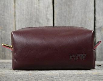 Oxblood Leather Shaving Bag - 3 Sizes