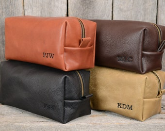 Large Leather Toiletry Bag Travel Shaving Dopp Kit - Free Monogram and Optional Interior Message Gift for Man Boyfriend Husband Brother Dad