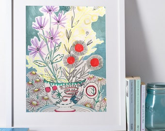 Tea Cup Floral A5 Print from my multi-media illustration