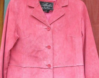 Pink Raspberry Suede Leather Jacket Tailored Peplum Atelier B Thomas Petite M
