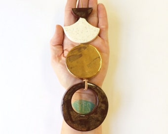 follow the golden moon - limited edition one of a kind ceramic wall hanging