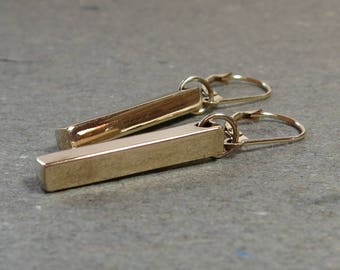 Bronze Bar Earrings Minimalist Simple Gold Leverback Gift for Her Lever Back Bar Charm
