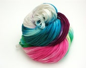 Snow Flower, Hand Dyed, Hand Painted, Ribbon, Yarn, White, Pink, Green, Blue, Purple