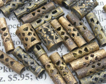 Really nifty brass filigree tube beads..a bit rare and my last lot.