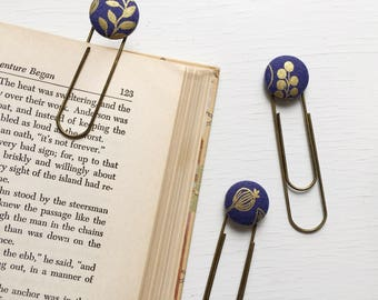 Bookmarks/Planner Clips// Queen Anne in Navy By Rifle Paper Co.