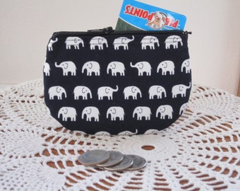 Tiny Elephants Card Clutch Zipper Small Essential Oils Case Gift Card Holder in  Made in the USA