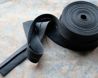 Linen bias tape - 3 meters -- width 2.7 cm --  dark grey