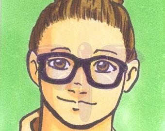 Abby Yates, Ghostbusters, Artist Trading Card, ACEO, art card, Original art, Ink, Marker, OOAK