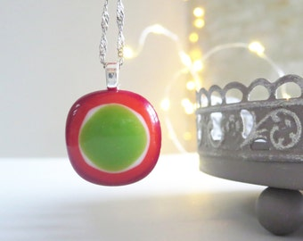 Glass Pendant, Fused Glass Necklace, Small Pendant Necklace, Boho Jewellery