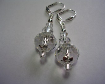Clear Crystal Earrings Swarovski Crystal Silverplate Leverback Hooks Wire Wrapped Sparkling Faceted Glass Crytal Earrings Gifts under 5