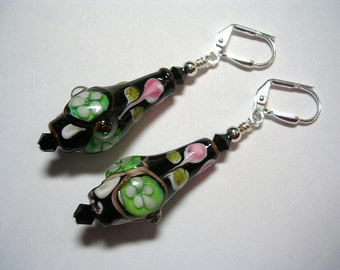 Vase Lampwork Earrings Vessel Goddess Swarovski Crystal Jet Pink Green Floral Silver Leverback Hooks Wire Wrapped Gifts under 5 Dangle Drop