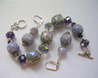 Purple Bracelet Purple Earrings Crystal Chunky Set Leverback Hooks Wire Wrapped One of a Kind