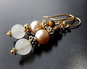 Rose Quartz Earrings, Pearl, Gold Beaded Dangles