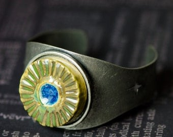 Green Clay and Blue Glass Metal Cuff