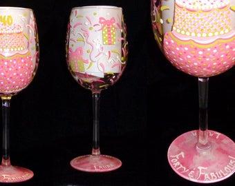 Pink & Lime PERSONALIZED Hand Painted Birthday Wine Glass  - Artist Original - Dishwasher Safe Finish!