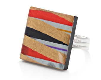 Linear Stripe Chiyogami Resin Square Acrylic Adjustable Ring