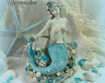 Mermaid, Ocean Maiden, Mermaid Figurine, Ocean Decor, Seaside, Shells, Beach, Bungalow, Nautical, Starfish, Coastal Decor, Cottage Chic