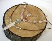 Three Strand Sunstone and Quartz Spike Necklace, Boho Necklace, Tree of Life Necklace, Leather Cord Necklace, Quartz Spike Neckklace