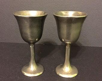 "Two  ""Heavy"" Metal Miniature Wine Goblets"