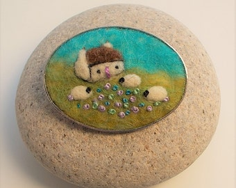 Felt Sheep Brooch Pin with Cottage