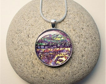 Pendant, Necklace, Unusual, Textile and Resin, Purple, Iridescent, Circle