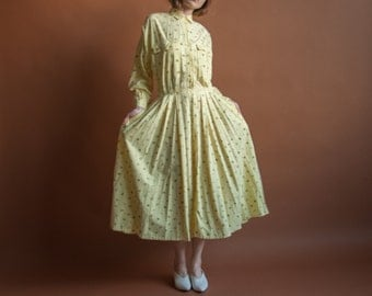 yellow cotton print shirt dress / geometric print cotton midi full skirt dress / m / 2080d / B14