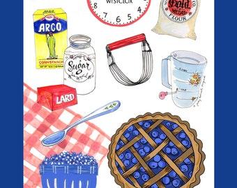 """LInen and cotton blend tea towel """"Let's Bake a Blueberry Pie"""" kitchen towel"""