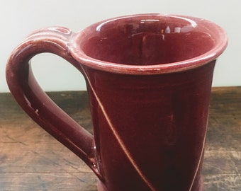 Burgundy Mug with White Stripes Stoneware Pottery Mugs Ready to Ship