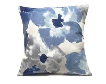 Decorative Pillow Cover Bold Modern Floral Design Same Fabric Front/Back Navy Blue Baby Blue Shades of Gray White Toss Throw 18x18 inch x