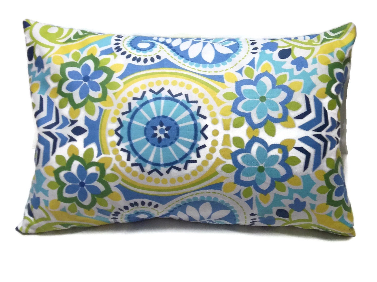 Navy Blue Decorative Pillow Covers : Decorative Pillow Cover Navy Blue Sky Blue Olive Green