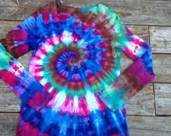 Womens L XL Tie Dye Shirt Long Sleeve Psychadelic Large Tie Dye Extra Large Tie Dye Tee