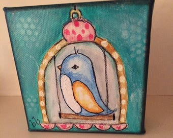 A Little Birdie Told Me...original painting on 4x4 canvas