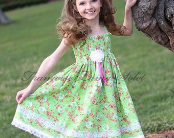 Girls Dress Easter Birthday Flower Girl tea party green pink white lace Custom Twirl Dress Size 12 months  to 12 yrs - Spring is Here!!
