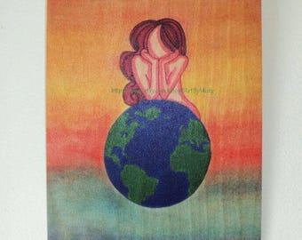 Earth Girl Print on Wood Canvas