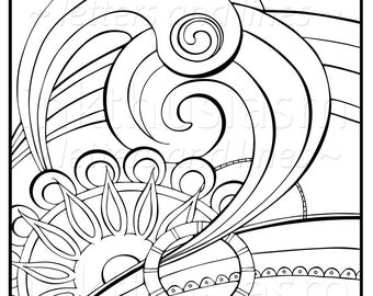 Adult Coloring Page, Zen Doodle Swirls