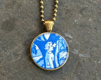 Nancy Drew Necklace Bold Bronze with  Ball Chain or Rolo Link Vintage Book End Papers