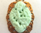 Vintage cabochon pendant (1)  1920s Czech mint green lime green floral glass Brass setting  molded flatback diamond approx 1.5 inches (1)