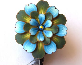 Blue Flower ID Badge Reel, Scissor Keeper, ID Lanyard, Scissor Fob